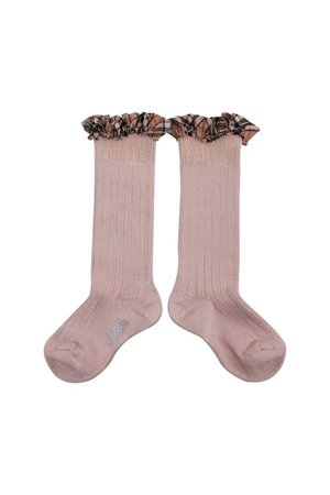 Collégien Arabelle - high socks with ruffle - vieux rose