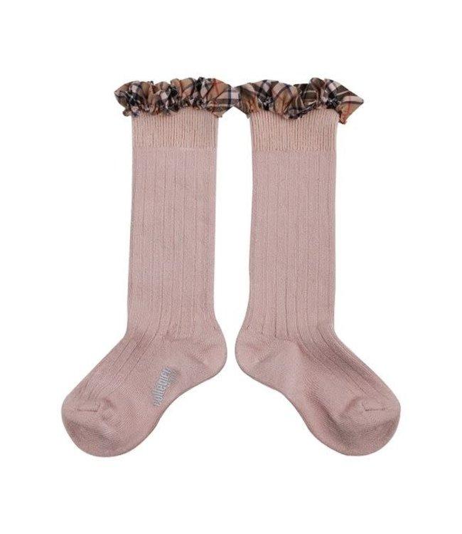 Collégien Arabelle - hoge sokken met detail - vieux rose