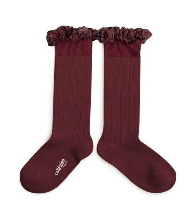 Collégien Arabelle - hoge sokken met detail - châtaigne