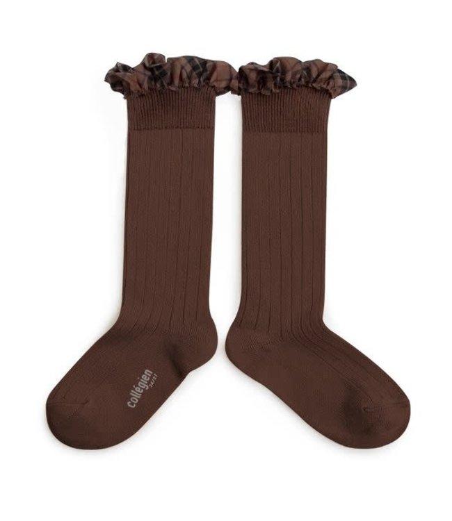 Collégien Arabelle - high socks with ruffle - chocolat au lait