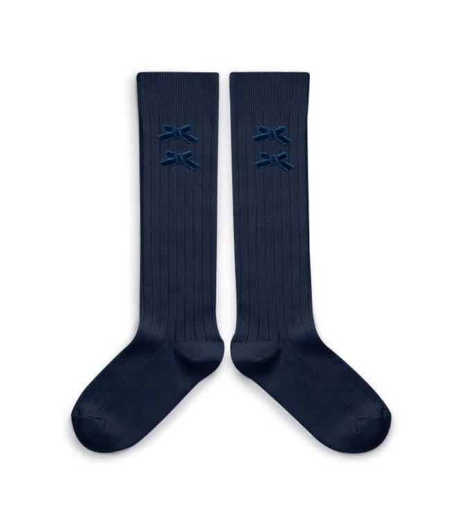 Collégien Hortense - high socks with velvet bow - nuit etoilée