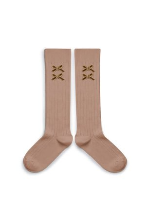 Collégien Hortense - high socks with velvet bow - petit taupe