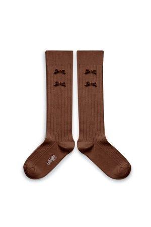 Collégien Hortense - high socks with velvet bow - chocolat au lait
