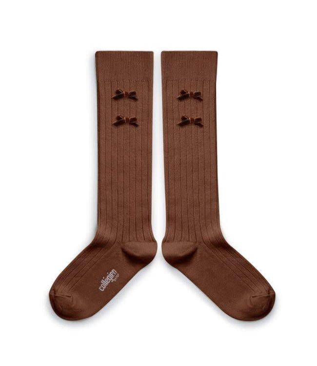 Collégien Hortense - hoge sokken met fluwelen strik - chocolat au lait