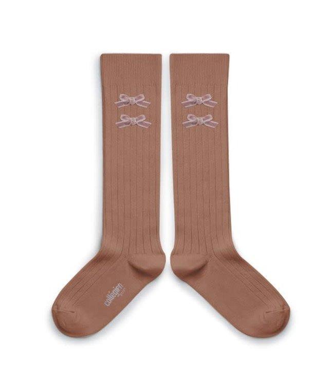 Collégien Hortense - high socks with velvet bow - praline lyon