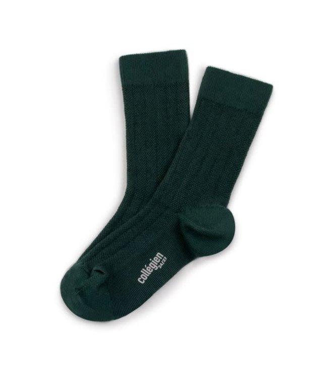 Collégien Grain de caviar - retro socks - vert forêt