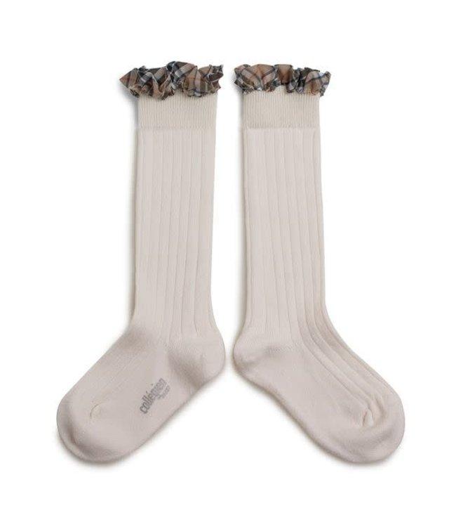 Collégien Arabelle - high socks with ruffle - doux agneaux