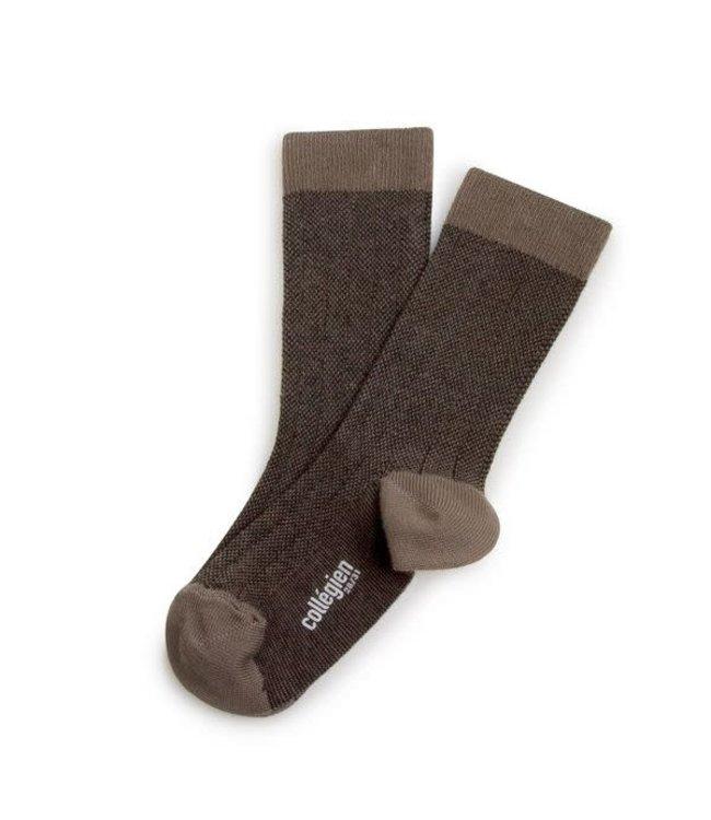 Collégien Grain de caviar - retro socks - brun de terre