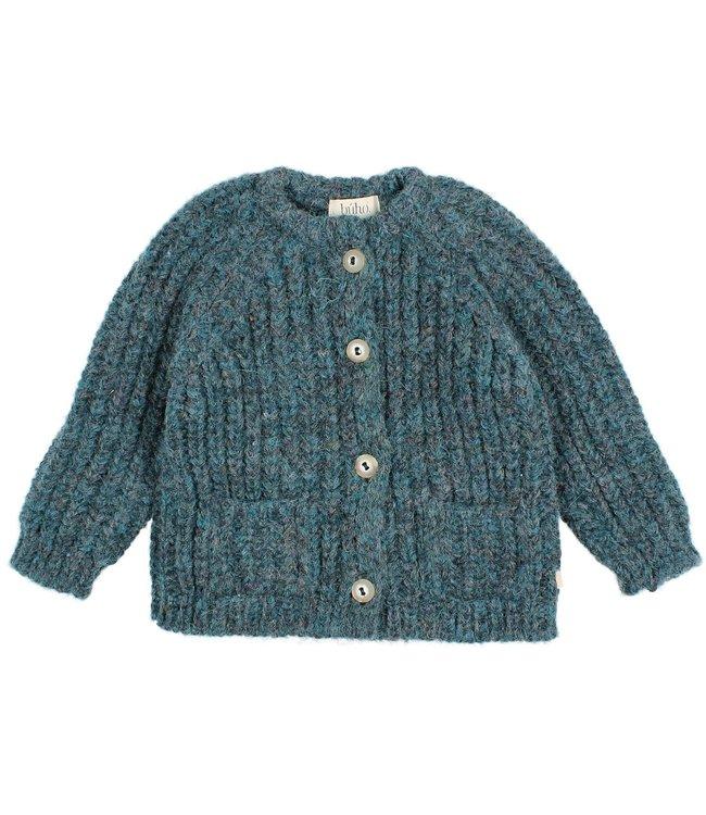 Baby ribbed knit cardigan - north sea