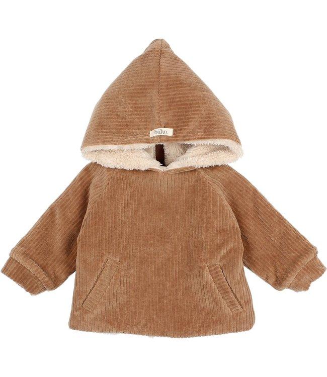 Knit velour jacket - muscade