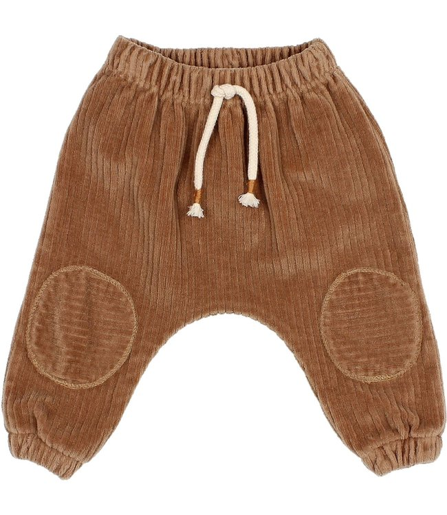 Baby knit velour pants - muscade