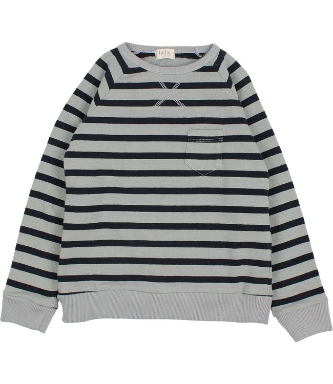 Navy stripes sweatshirt - storm grey