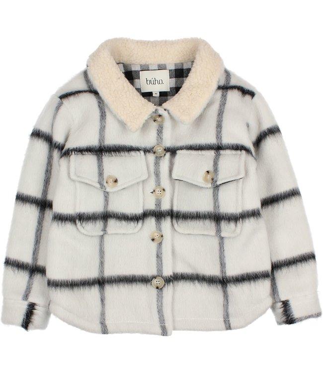 Check overshirt jacket - ecru