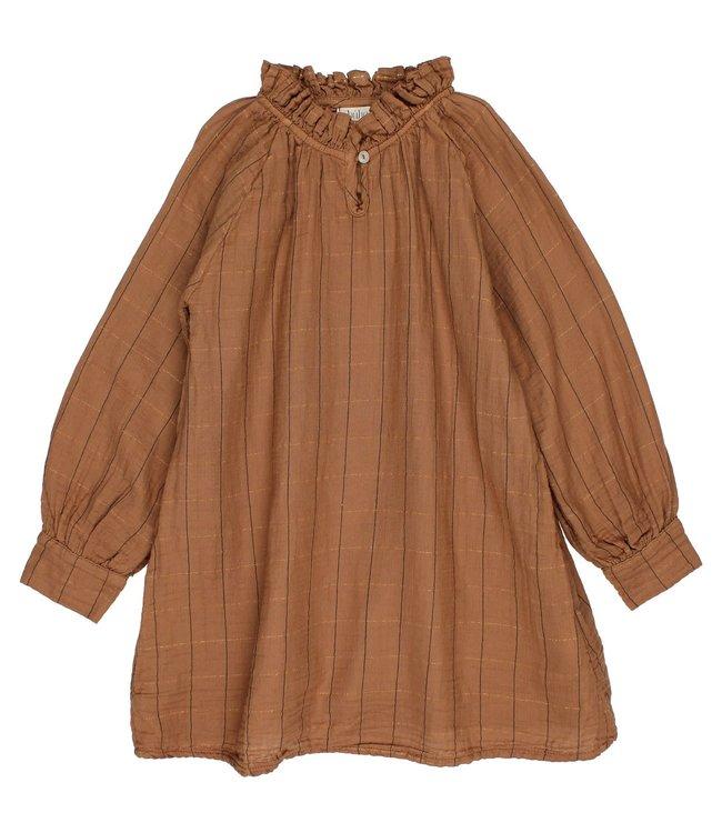 Check lurex dress - muscade