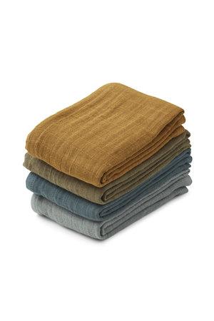 Liewood Leon muslin cloth 4-pack - whale blue multi mix