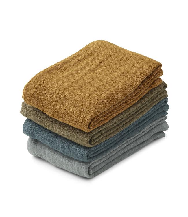 Leon muslin cloth 4-pack - whale blue multi mix