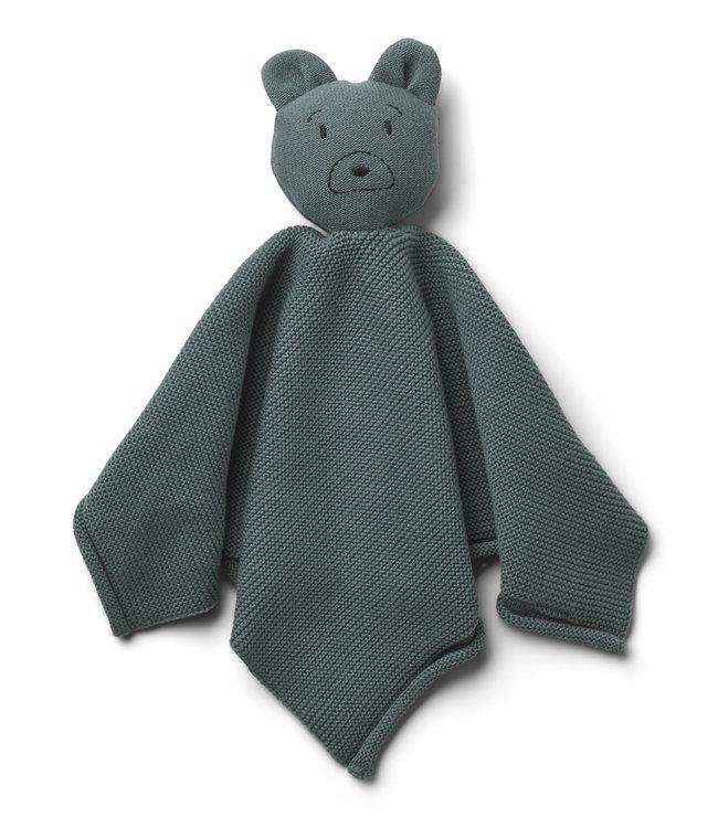 Milo knit cuddle cloth - mr bear whale blue