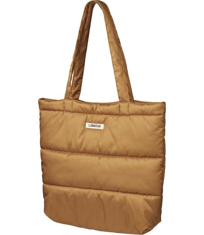 Constance quilted tote bag - golden caramel
