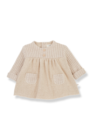 1+inthefamily Cintia newborn dress - cream