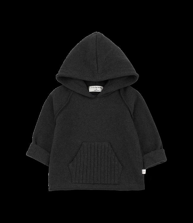 1+inthefamily Leandre hood jersey - charcoal
