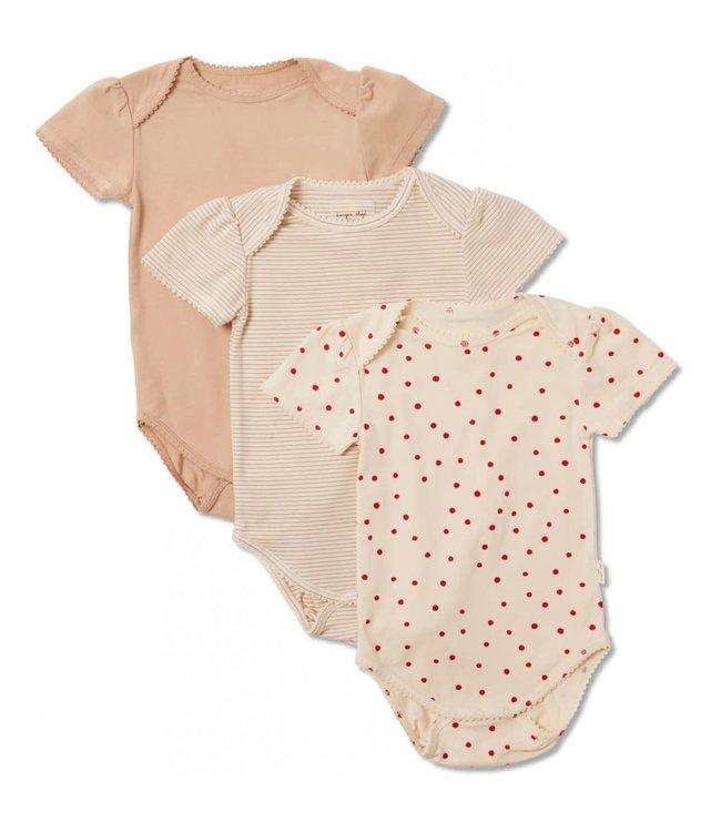 Konges Sløjd 3 Pack cue body short sleeve - macaroon/rosey/raspberry