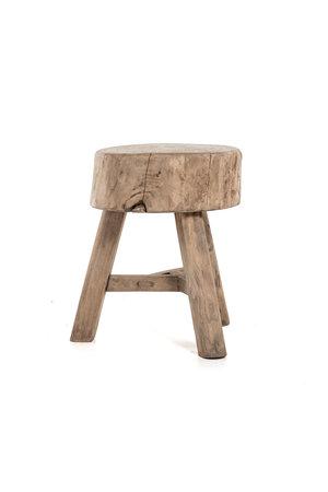Robuuste kruk met 3 poten, bleek hout #1