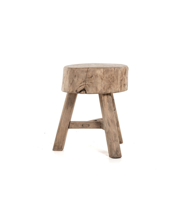Stool with 3 legs, bleached wood #1