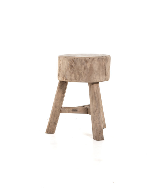 Stool with 3 legs, bleached wood #2