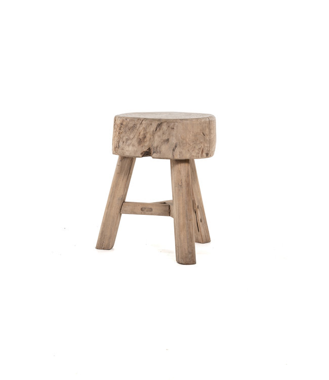 Round stool with 3 legs, bleached wood #3