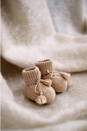 Gentil Coqueliquot Knitted booties - sand