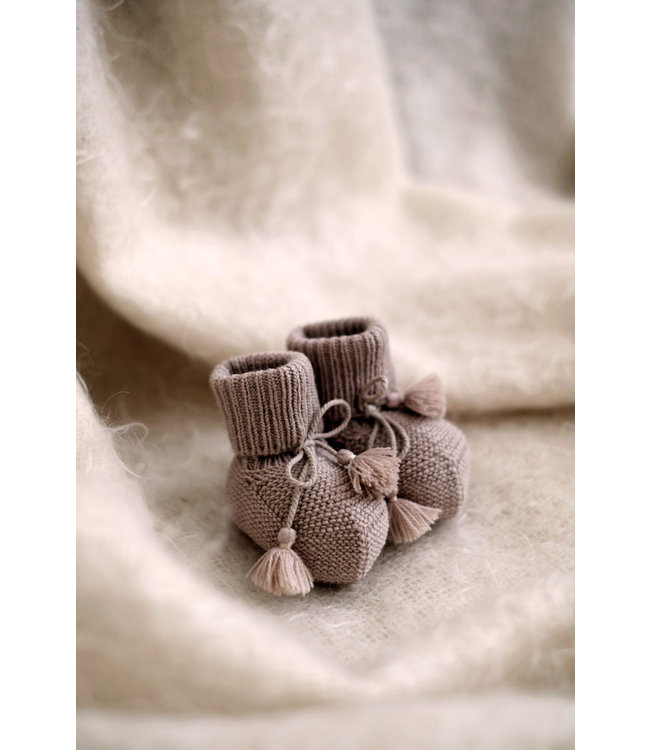 Gentil Coqueliquot Knitted booties - taupe
