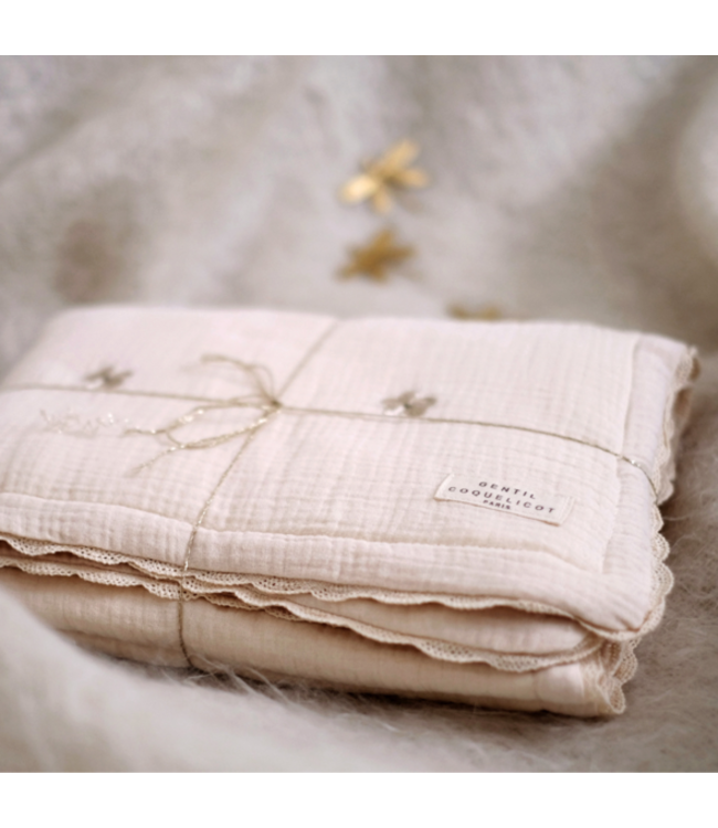 Gentil Coqueliquot Quilted embroidered baby blanket - flower