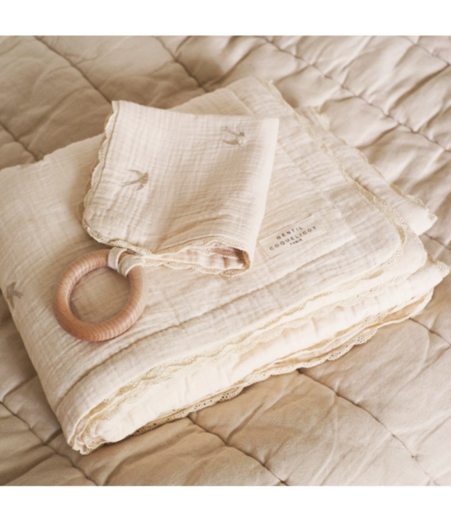 Gentil Coqueliquot Quilted embroidered baby blanket - swallow