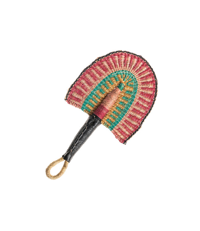 Fan desert rose with leather handle S