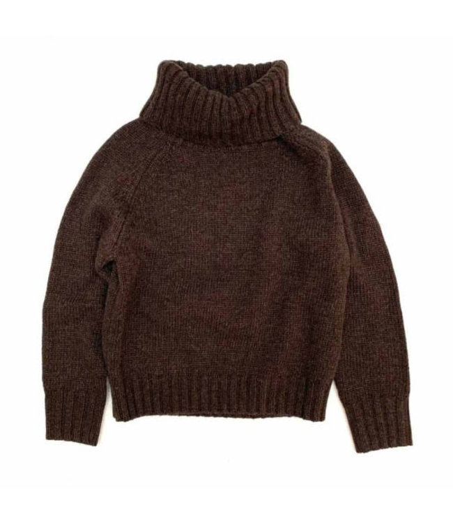 Sweater with coll - dusty choc