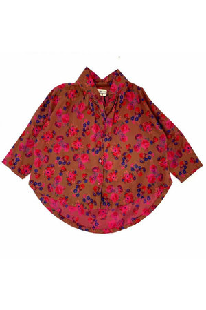 Long Live The Queen Collar blouse - bright pink flower