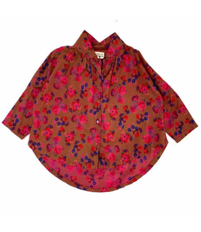 Collar blouse - bright pink flower