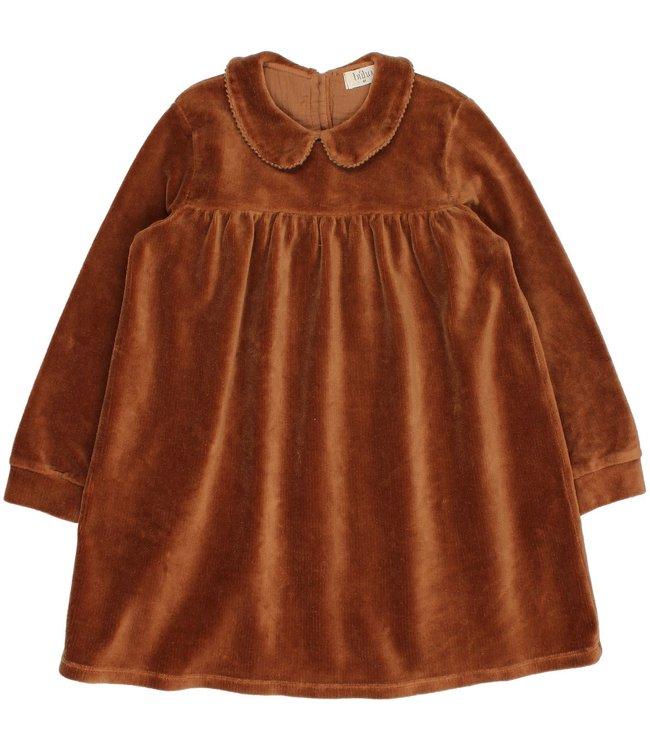Velvet dress - muscade