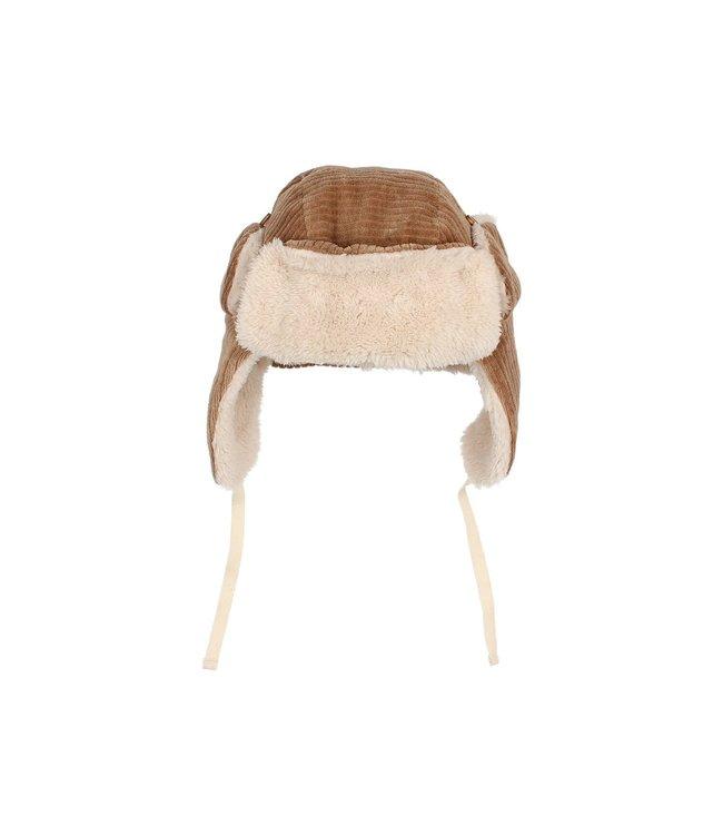 Knit velour hat - muscade