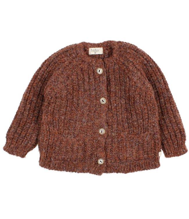 Buho Ribbed knit cardigan - henna