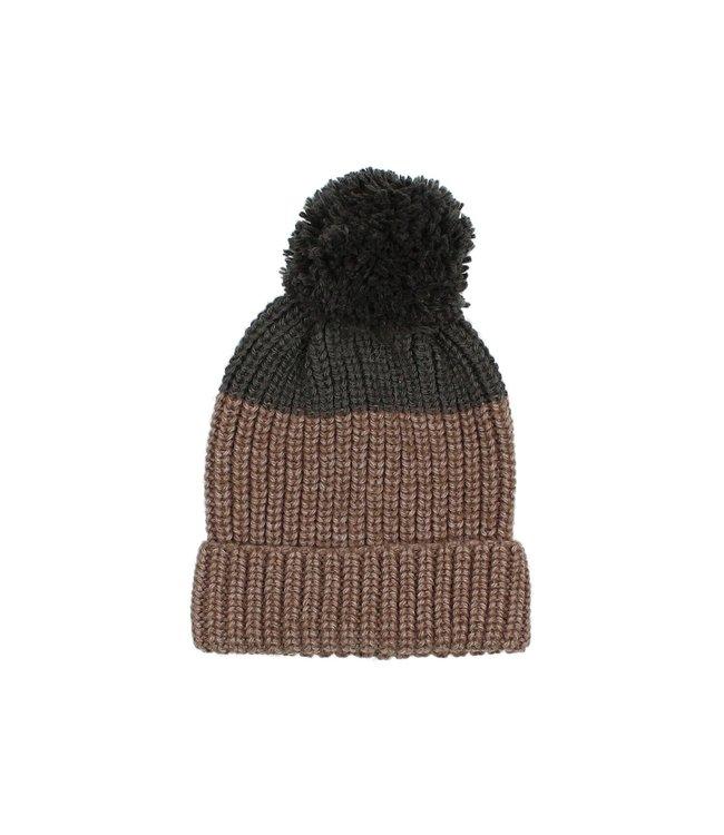 Buho Pom pom soft knit hat - bicolor wood