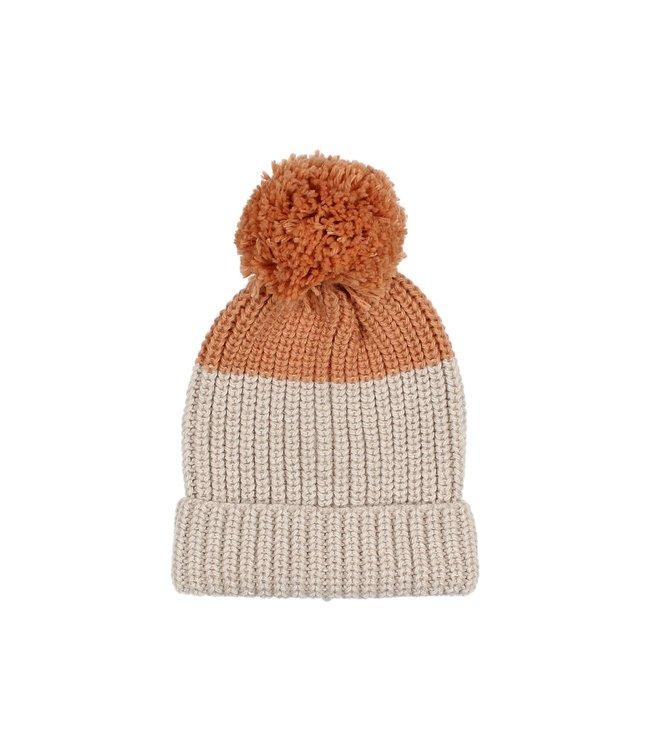 Pom pom soft knit hat - bicolor natural