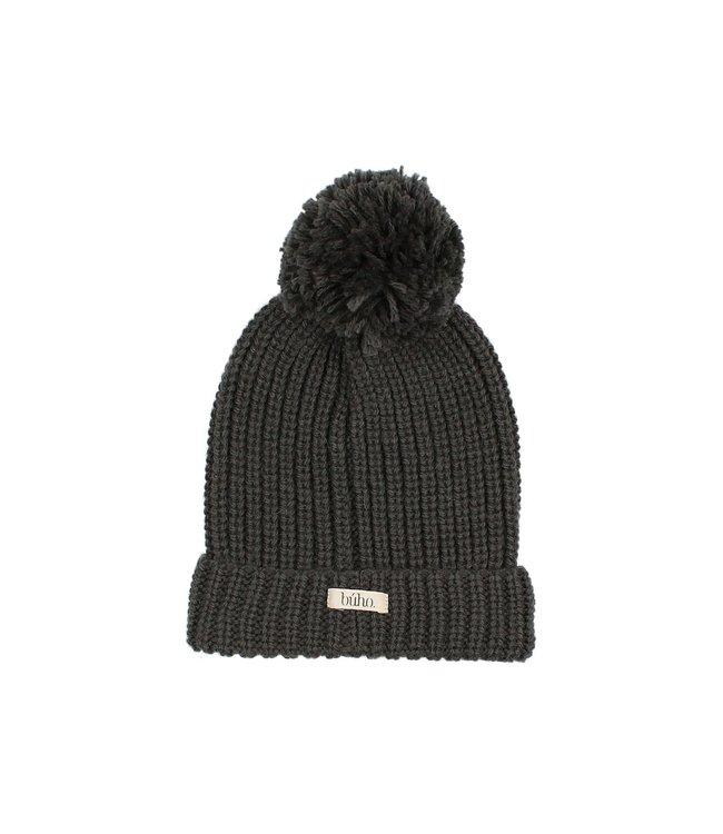 Pom pom soft knit hat - antracite