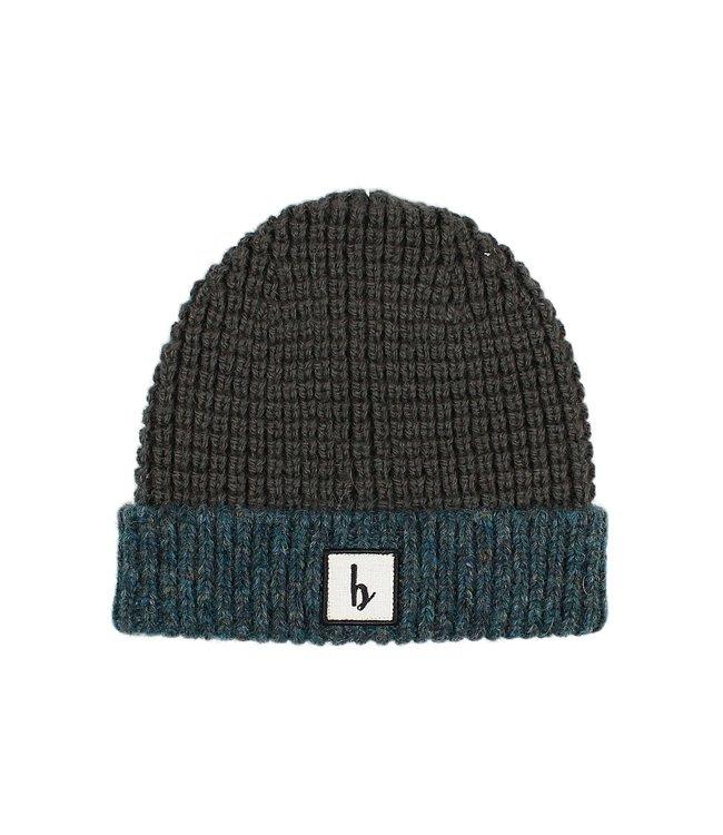 Bicolor knit beanie - north sea
