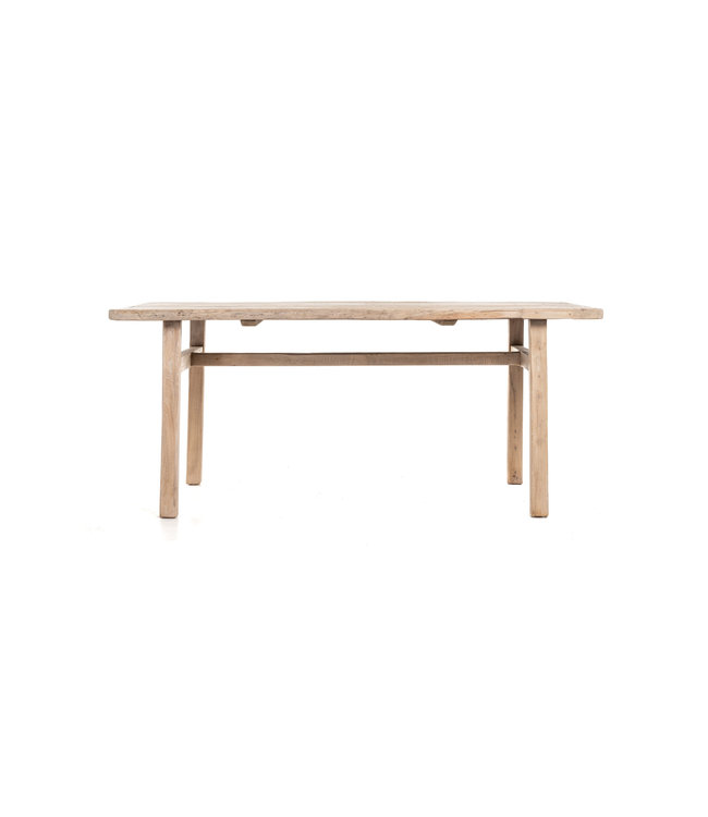 Old elm table with wooden legs #2 - L185 cm