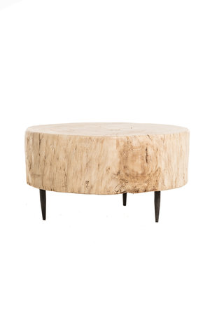 Boomstam salontafel metalen poten, populier #1 - Ø68 cm