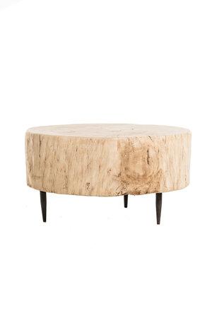 Tree trunk coffee table with metal legs #1 - Ø68 cm