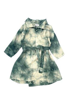 Long Live The Queen Linen dress - green clouds