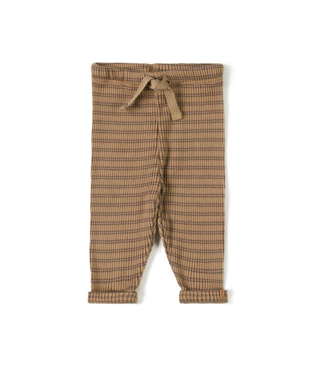 Rib legging - stripe choco