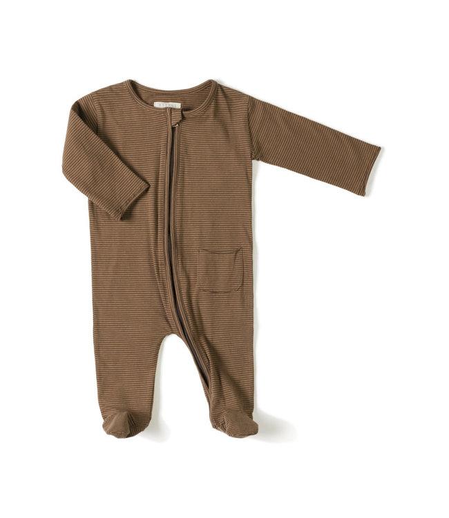 Zipp onesie - stripe toffee